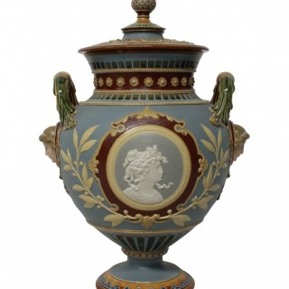 A GERMAN MAJOLICA NEO-CLASSICAL TAZZA