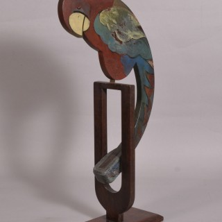 Antique Early 20th Century Folk Art Swinging Parrot
