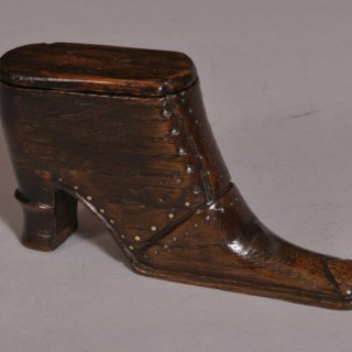 Antique Treen 19th Century Oak Snuff Boot