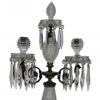 A FINE GEORGE III CUT GLASS CANDELABRA