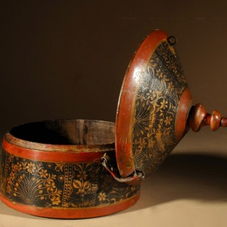 An Indian Original Painted Turned Wooden Box With Lid. Circa 1900