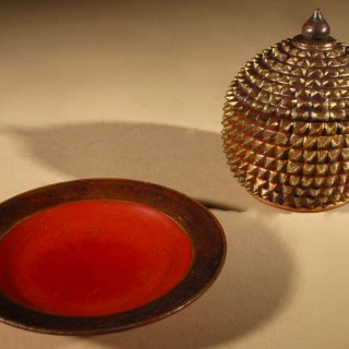 A Nice Small Oriental Crisply Carved Lacquered Box with lid and tray, Circa 1900.