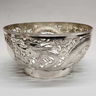 Antique Chinese Silver Bowl  JIAN JI 記建