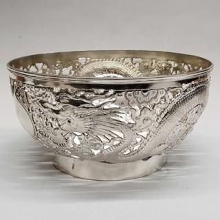 Antique Chinese Silver Bowl  JIAN JI 記建