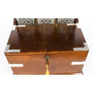 Antique English Victorian Oak Three Crystal Decanter Tantalus Dry Bar C1870