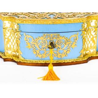 Antique French Enamel Ormolu & Mother of Pearl Jewellery Casket 19th C