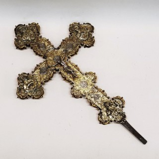 Antique Continental Silver Processional Cross