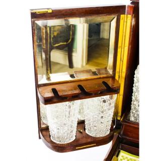 Antique Edwardian Three Liqueur & Cigar Table Cabinet Tantalus Dry Bar C1910
