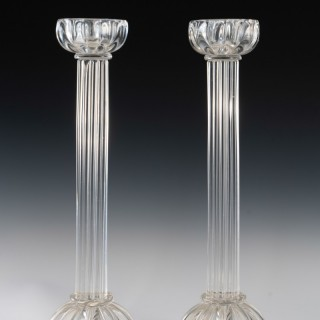 Pair of Seguso candlesticks 2 by John Loring of Tiffany & co.
