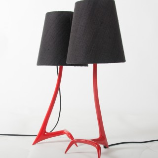 """Pair of """"pompier red"""" Stockholm table lamps by Maison Charles"""