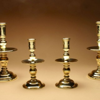 A Very Nice Pair Of Oversized Dutch Brass Heemskerck Candlesticks. 18/19th Century.