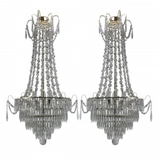 A PAIR OF SWEDISH TENT & WATERFALL CHANDELIERS