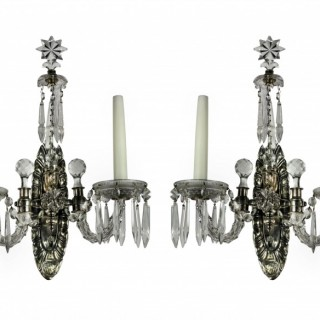 FRENCH SILVER & CUT GLASS WALL LIGHTS
