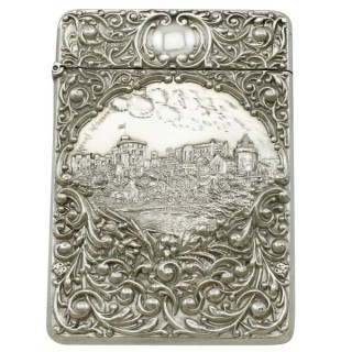 Sterling Silver Castle Top Card Case - Antique Edwardian (1903)