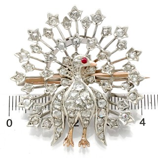 2.35ct Diamond and Ruby, 9ct Yellow Gold Peacock Brooch - Antique Victorian