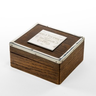 A silver mounted commemorative box made from 'Victory' oak