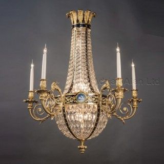 A Louis XVI Style Cut-Glass Basket Chandelier With Jasperware  Plaques