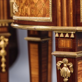 A Rare Pair of Louis XVI Style Parquetry Gueridons