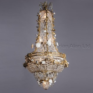 A Louis XVI Style Glass Cage Chandelier With Applied Porcelain Flowers