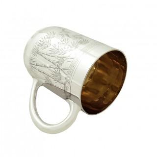 Antique Victorian Sterling Silver Christening Mug / Tankard 1887