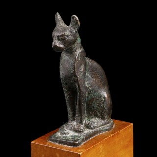 Egyptian Bronze Statuette of the Goddess Bastet as a Cat
