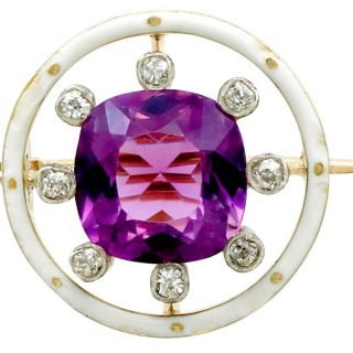 2.26ct Amethyst and 0.16ct Diamond, 18ct Yellow Gold Brooch - Antique Circa 1920