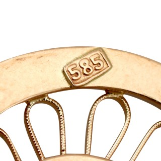 Diamond and 14ct Yellow Gold Pendant - Art Nouveau Style - Antique Circa 1900