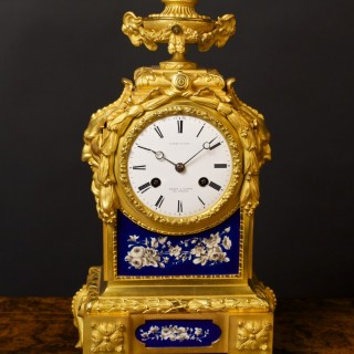 French Ormolu and Porcelain Panel Mantel Clock by Wilson & Gandar, Paris