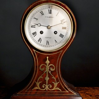 Mahogany Cased BalloonMantel  Clock by W.Barfoot, London