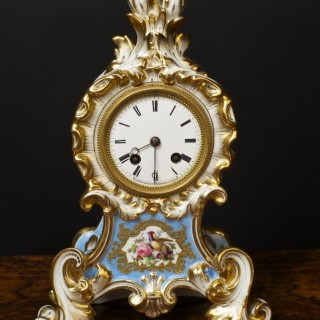 French Porcelain Mantel Clock by Aubert  Klaftenberger, Paris