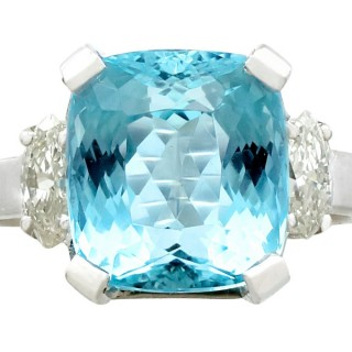 6.24ct Aquamarine and 0.66ct Diamond, 18ct White Gold Dress Ring - Vintage French Circa 1990
