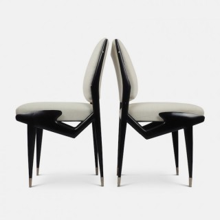 Ico Parisi Pair of Ebonized Side Chairs