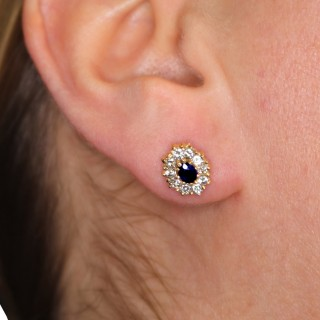 0.55 ct Sapphire and 0.80 ct Diamond, 18 ct Yellow Gold Stud Earrings - Vintage Circa 1990