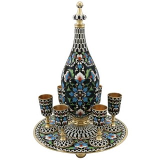 Russian Silver Gilt and Polychrome Cloisonné Enamel Vodka Decanter and Goblet Set - Vintage Circa 1970