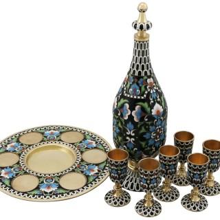Russian Silver Gilt and Polychrome Cloisonné Enamel Vodka Decanter and Goblet Set - Vintage Circa 1970
