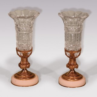 Pair of Mid 19th Century Ormolu Glass Vases