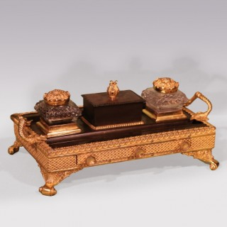 Patrick Sandberg Antiques Menu Bronze and Ormolu Pentray with Drawer