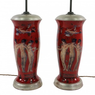 PAIR OF POMPEIAN DECLAMANIA LAMPS