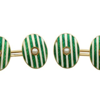 Pearl and Enamel, 18 ct Yellow Gold Cufflinks - Antique Victorian