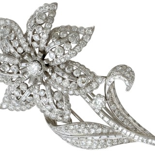 13.81ct Diamond and Platinum Flower Brooch - Antique French Circa 1930