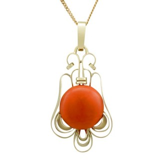 7.47ct Coral and 14ct Yellow Gold Pendant - Art Deco - Vintage Circa 1940
