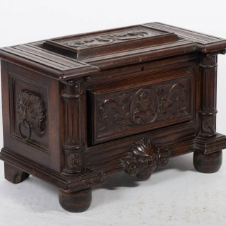 Antique Table Coffer Carved, Continental, C. 1600