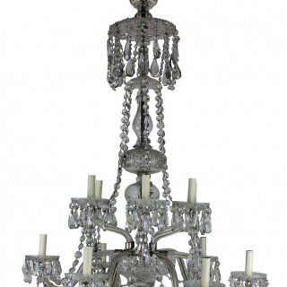 A LARGE ENGLISH CUT GLASS CHANDELIER