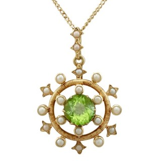 1.92ct Peridot and Seed Pearl, 15ct Yellow Gold Pendant - Antique Circa 1900