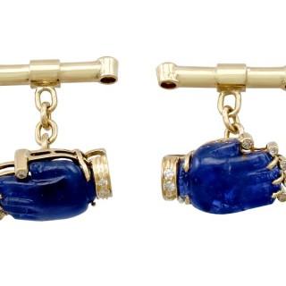8.23ct Sapphire and 0.24ct Diamond, 15ct Yellow Gold Cufflinks - Vintage Circa 1990