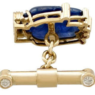 8.23ct Sapphire and 0.24ct Diamond, 15ct Yellow Gold Cufflinks - Vintage Circa 1990