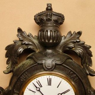 English Interest! A Very Decorative Type Of Coat Of Arms Cast Iron Wall Clock.