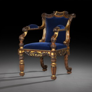 Regency Rosewood Parcel Gilt Gillows Armchair