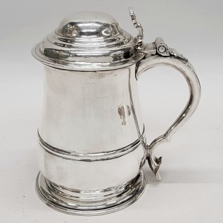 Antique George II Silver Lidded Tankard