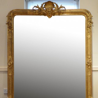Superb 19th Century Giltwood Floor Standing Mirror